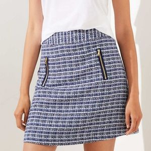 Loft Tweed Zip Pocket Shift Skirt Blue 12